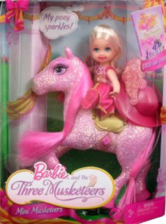NEW Barbie & Three Musketeers Kelly Doll & Sparkly Glittery Pink Horse