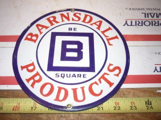 OLD ANTIQUE BARNSDALL OIL PRODUCTS PORCELAIN GAS STATION SIGN