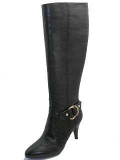 Black Genuine Leather Fashion Knee High Dressy Boots Bartley