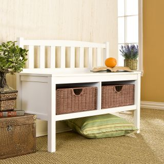 Solid Wood Bench w/ Storage Baskets, White Finish