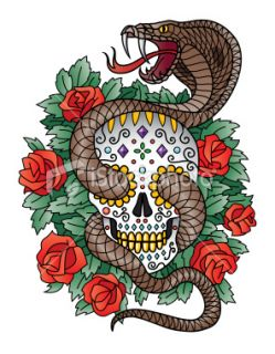 Tatouage, Crâne humain, Serpent, Rose, Diamant Illustration