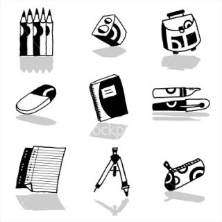 School icons set Royalty Free Stock Vector Art Illustration