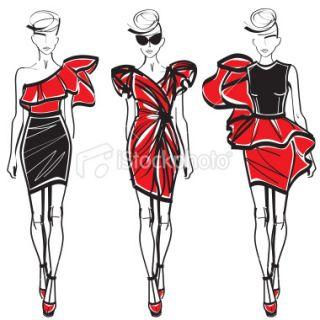 Sect de la mode, Croquis, Mannequin, Femmes, Dessin  Stock