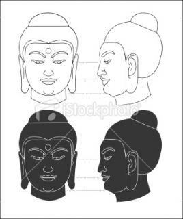 Bouddha, Profil, Visage, Bouddhisme, Tête Illustration vectorielle