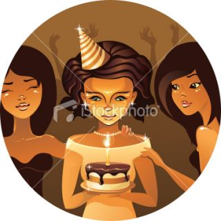 stock illustration description cute girl holding her birthday cake