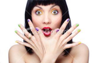 Manucure, Multicolore, Visage, Main Humaine, Femmes Photo libre de