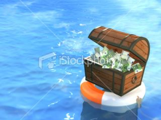 Lifebuoy and wooden box with money Royalty Free Stock Photo