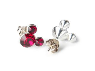 Disney Mickey Mouse Sterling Silver Red Crystal Stud Earrings, July