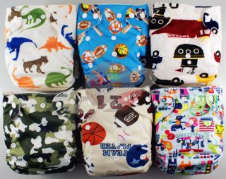BAMBOO BABY DIAPER CLOTH NAPPY+BAMBOO INSERT For boys6 Patterns