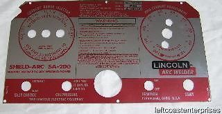 LINCOLN Electric Arc Welder SA 200 163 Red/Aluminum Face Plate, L