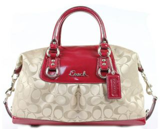 Coach Ashley Signature Sateen Satchel 15443 Handbag and Red Patent