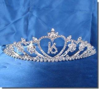Sweet 16 Birthday Princess Party Prom Crown Crystal Tiara 5113S6