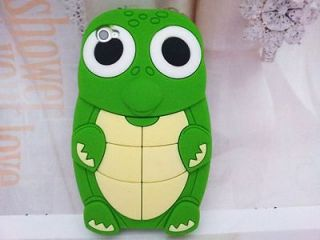3D Baby Turtle Green Skin Soft Silicon Case Cover+Screen For iPhone 4G