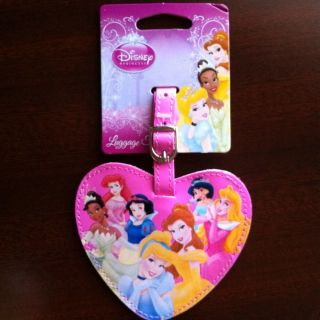 disney princess luggage tag heart shaped new with tags returns