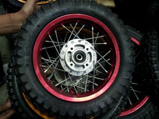 Pitbike Front Wheel 2.75 x 10 Red (Pair 2 x Tires) Pit Bike