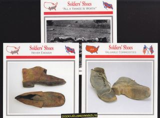SOLDIERS SHOES Footwear Clothing U.S. CIVIL WAR 3 CARDS Confederate