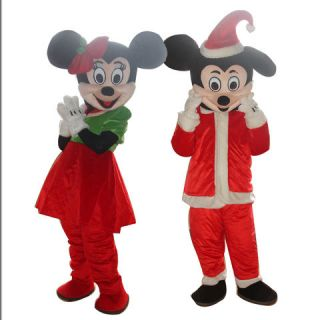 NEW Christmas MICKEY MINNIE MOUSE ADULT SIZE MASCOT CARTOON COSTUME