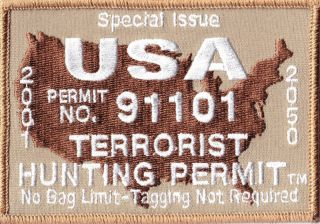 USA TERRORIST HUNTING PERMIT CUSTOM EMBROIDERED PATRIOTIC PATCH