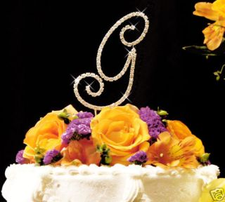 full crystal monogram wedding cake toppers gold initial time left