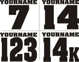 SET OF 3* Custom Racing Name Number Plate Vinyl Decals SX MX ATV Go