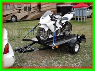 4x6 FOLD STAND UP Motorcycle Hauler Carrier Trailer Kit with Rail and