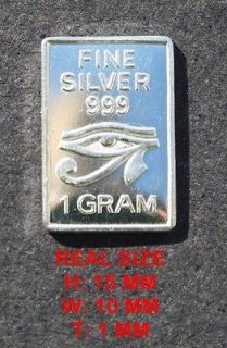 GRAM 999.Fine Pure SOLID SILVER BULLION BAR The All seeing eye