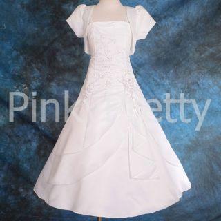 White Wedding Flower Girl Bridesmaid Communion Dress 12