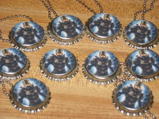 halo inspired ball chain bottle cap necklace party favors lot of 20