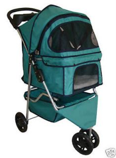 New Classic Fashion Teal 3 Wheels Pet Dog Cat Stroller w/Rain Cover