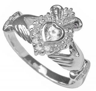 Newly listed Silver Diamond Claddagh Celtic Ladies Ring Irish sz 7 6 8