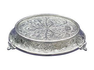 BEAUTIFULLY EMBOSSED WEDDING TAPERED SILVER CAKE STAND ROUND 14