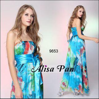 Strapless Blues Floral Printed Ruffles Ribbon Long Evening Dress 09653