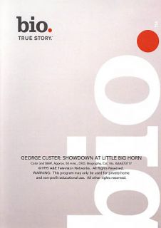 Biography George Custer   Showdown at Little Big Horn DVD, 2009