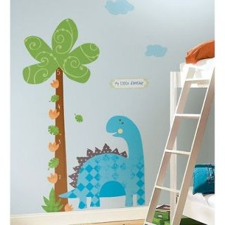 New BABY DINOSAUR GROWTH CHART WALL DECALS Kids Room Stickers Baby