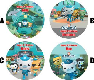 OCTONAUTS CAKE TOPPER DECORATION PERSONALISED BIRTHDAY 7.5 ROUND
