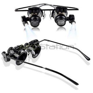 20X Magnifier Eye Glasses Jeweler Loupe Lens LED Light Watch Repair