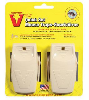 victor quick set mouse trap twin pack reusable new time