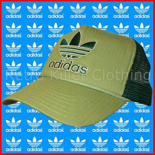 Adidas Originals Trucker Style Green Trefoil Mesh Baseball Cap Hat