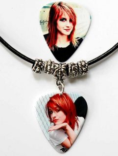 Hayley Williams Paramore Guitar Pick Black Leather Necklace