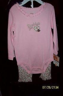 NEW NWT CARTERS Pink Leopard Cat PRINT 12M Shirt Top Pants Leggings