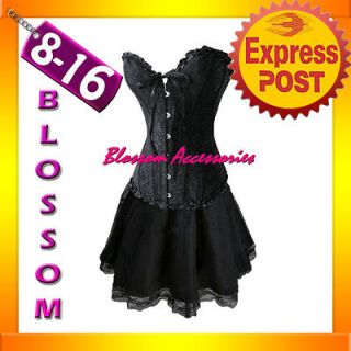 819 5 Black Burlesque Moulin Rouge Costume Gothic Lollita Boned Corset