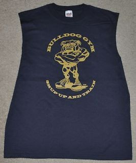 Bulldog Gym Sleeveless Workout Bodybuilding Muscle Shirt Sz M Navy