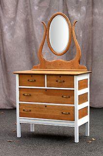 antique dresser vanity oak bevel mirror  80