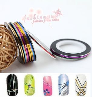 20 Pcs Mixed Colors Pretty Rolls Striping Tape Line Nail Art