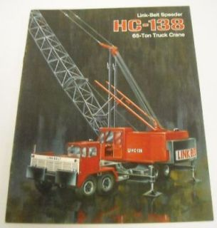 link belt speeder 1969 hc 138 truck crane sale brochure