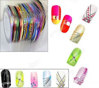 30Pcs Mixed Colors Rolls DIY Striping Tape Line for Nail Art