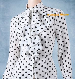 Fashion Women Chiffon Ruffle Front High Neck Polka Dot Print Top Shirt