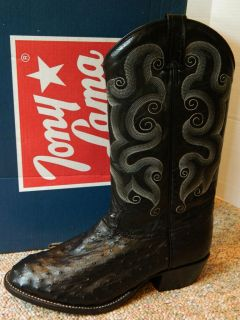 Tony Lama CT833 Black Ostrich mens western boots 9.5 EE wide New in