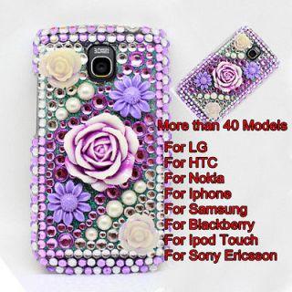 Purple Flower Diamond Crystal Hard Back Case Cover Skin For Mobile