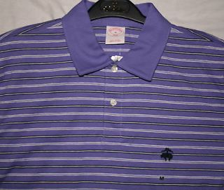 NWT Mens Brooks Brothers 346 Soft Cotton Purple Striped Polo Shirt